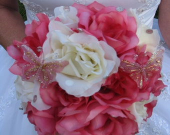 Pink and white rose bouquet  - Pretty in Pink
