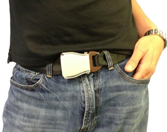 The Flybuckle™ - Fashion Belt made with Airplane Seat Belt Buckle and Actual Seat Belt Strap