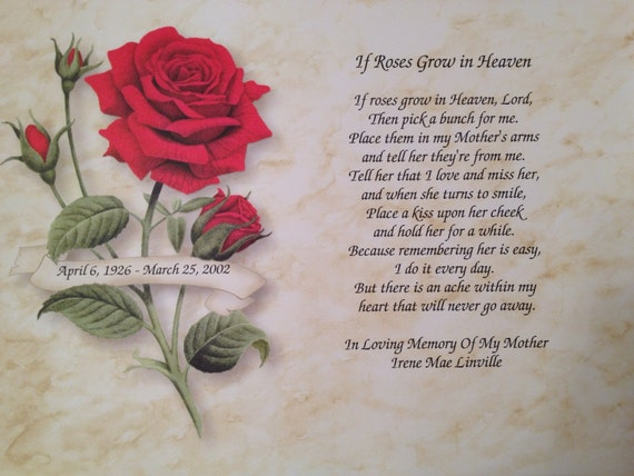 In Memory Of Mother Personalized If Roses By