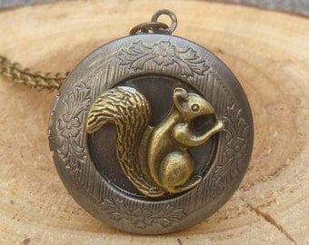 Squirrel Locket Necklace Victorian Jewelry Gift Vintage Style