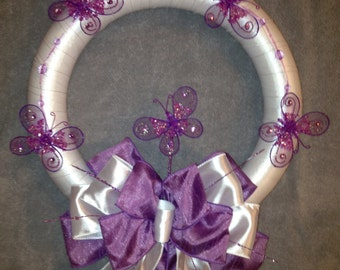"""Spring Wreath, Purple Butterfly Wreath 14""""inches"""