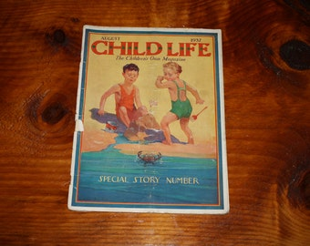 Vintage Child Life Magazine, August 1937, James Allen St. John Cover Art