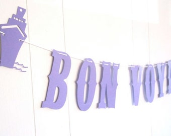 Bon Voyage Banner, Ship, Cruise, Purple Banner, Honeymoon Banner, Customizable, Vintage Rodeo Font, Purple and White