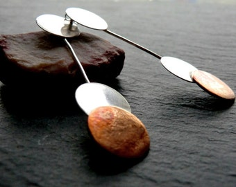 Pendulum Drop Earrings, Long, copper, silver, handmade