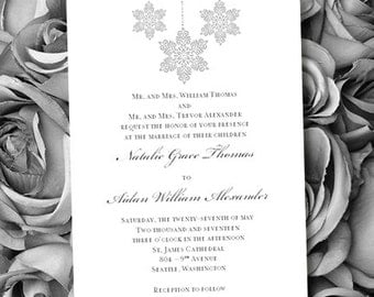 Printable Wedding Invitation Template Winter Snowflakes Silver Gray