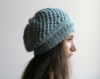 Slouchy hat / Chunky beanie / Woman Winter hat / Light blue hat /  CHOOSE YOUR COLOR!
