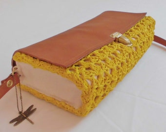 Light mustard yellow and brown leather shoulder bag gold clasp