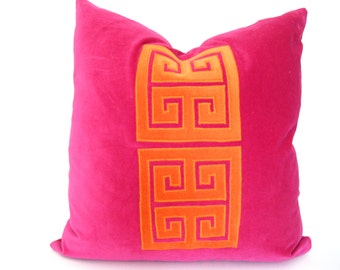 Pink and Orange Pillow Cover with Velvet Greek Key Applique