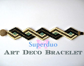 Tutorial Superduo Bracelet Peyote Art Deco Instant Pattern Download Suitable for all levels. Original design by Butterfly Bead Kits