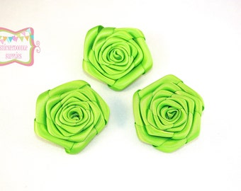 Lime Green Satin Rolled Rosette 3 Pieces #D101