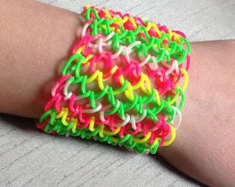 rainbow loom dragon scale bracelet large cuff neon tie