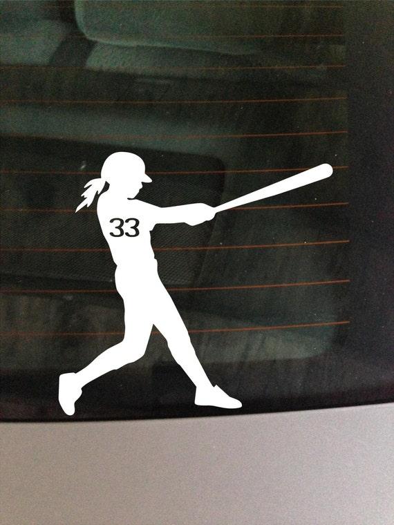 Custom Girl Softball Bat White Car Window Vinyl Sticker
