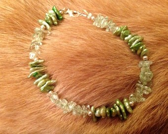 Green Amethyst and Keshi Pearl Bracelet