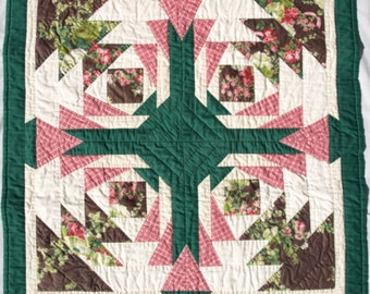Hand Quilted Abstract Green, Pink and Brown Wall Hanging