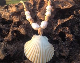 White Scallop seashell necklace