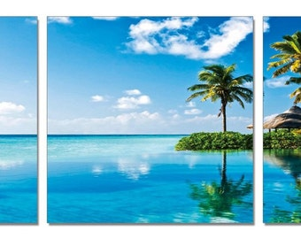 """48"""" Destination Unknown. 3 Panel Giclee Framed and Ready to Hang Canvas Print. Modern Art Wall Decor"""