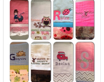 Set of 3 Customized burp cloth (several to choose from)