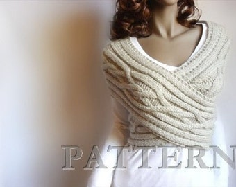 Knitting Pattern Cable knit Sweater PDF Instant download knitting pattern Vest pattern Cowl Neckwarmer Pattern in ENGLISH ONLY