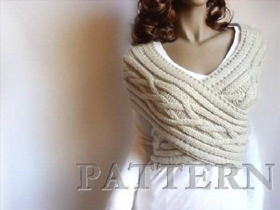 Knitting Pattern Cardigan Vest : Knitting Pattern Cabled Sweater Pattern Cowl Vest Sweater