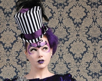 Striped Gothic Top Hat,Steampunk Circus Black and White WOMEN's Top Hat-Made to Order