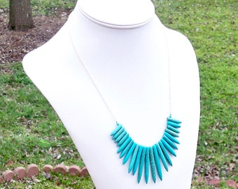 Turquoise Spike Necklace Turquoise Chain Necklace Spike Chain Necklace Tribal Necklace Ethnic Necklace Turquoise Spikes on a Chain