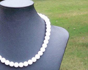 White Necklace White Bead Necklace White Beaded Necklace Simple White Necklace 10mm White Bead Necklace White Czech Glass Bead Necklace