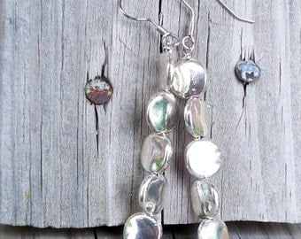 Olive - Long Modern Silver Circle Stone Beaded Dangle Fish Hook Earrings