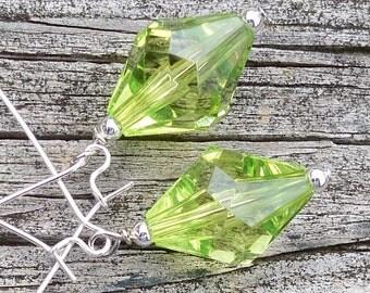 Amielle - Light Green Faceted Diamond Shaped Beaded Silver Dangle Kidney Hoop Earrings