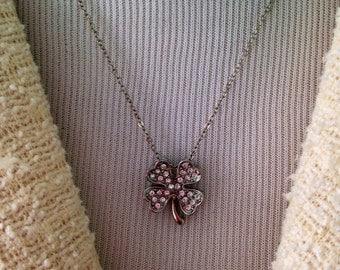Shiny Shamrock Vintage Necklace, St.Patricks Day, Irish,Silvertone