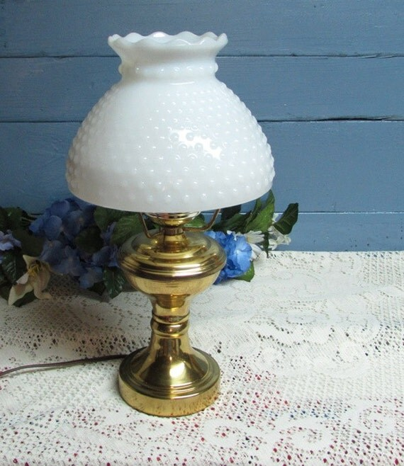 brass electric lamp with hobnail milk glass by busyonblackwood