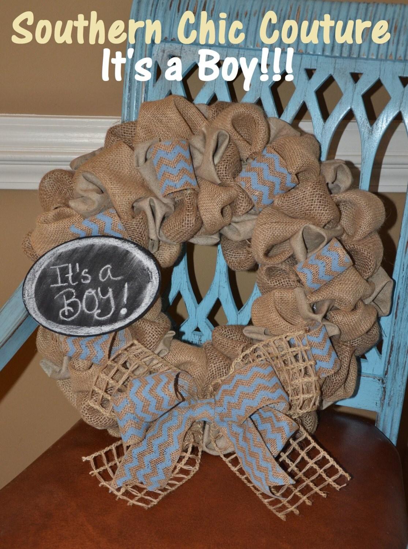 Burlap Baby Boy Wreath Hospital Door Hanger