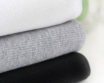1/2  Yard, Tubular 2:1 Ribbing Knit Fabric in 3 Colors