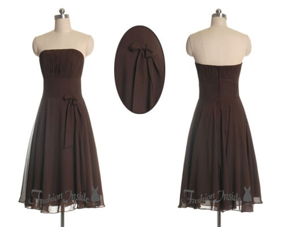 short chiffon bridesmaid dress, brown prom formal dress, strapless cocktail dresses P0048
