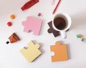 SALE 25% OFF. The Jigsaw Coaster. Set of 4. Eco Cardboard Coasters. Parisian Patisseries