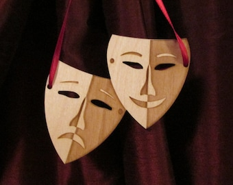 "Laser-cut wooden ""Tragedy & Comedy Masks"""