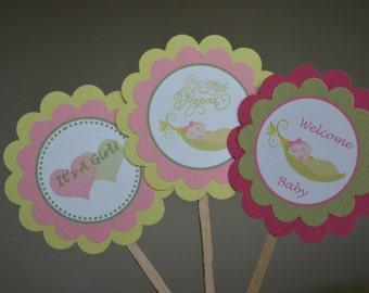 Pea In A Pod Baby Shower Theme Cupcake Toppers - Welcome Baby - It's A Girl - Sweet Pea - Congratulations - Set of 12