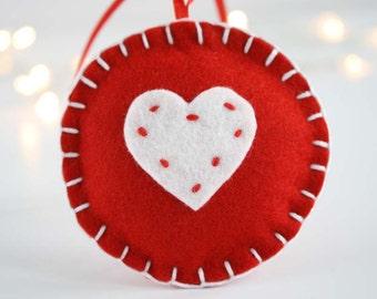 Christmas wool felt ornament - White heart on red circle