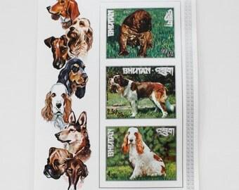 Dogs Imperforated Stamps Sheet / Bhutan / Boxer St Bernard Cocker / MNH / RARE
