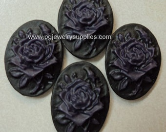 18x13 oval resin cameos rose and bud purple on black 4 pcs to a lot