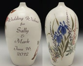 Wedding Wish Vase by David Voorhees, Garden Design, personalized with wedding couple's names and wedding date.