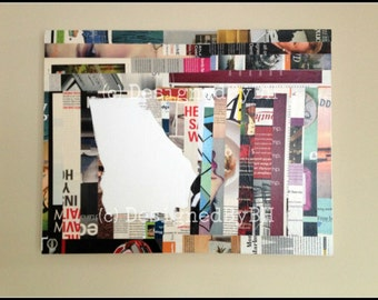 State of Georgia Upcycled Magazine Art Cutout on Canvas - 14in x 18in