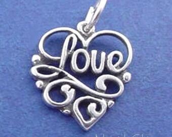 LOVE HEART Charm .925 Sterling Silver Pendant - lp979