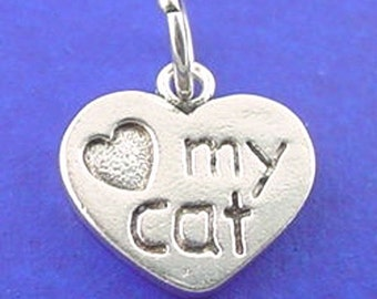 LOVE My CAT Heart charm .925 Sterling Silver, PAW Print Pendant - js108