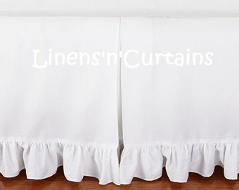 White Cotton Mini Crib Bedskirt Ruffle Edge Crib Bed