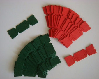 20 Red & Green Christmas cracker die cuts for cards toppers cardmaking scrapbooking craft project