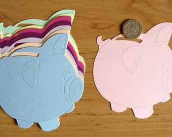 15 large Piggy Bank die cuts for cards/toppers cardmaking - scrapbooking children's craft