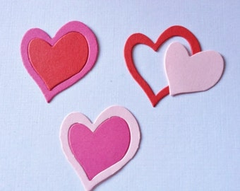 50 double Heart Die cuts for Valentines cards/toppers cardmaking scrapbooking craft projects