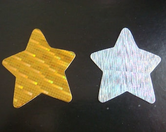 30 Silver & Gold Stars die cuts for christmas cards/toppers *cardmaking*scrapbooking* craft project