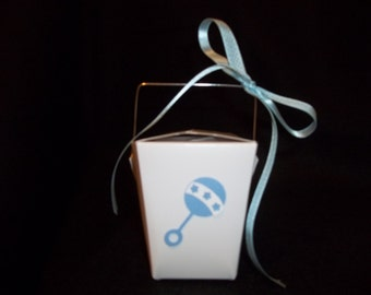 10 - Rattle Chinese Take-Out Favor Boxes - Baby Shower or Gender Reveal Favor