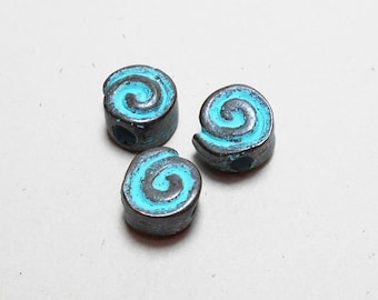 3 Turquoise Patina Spiral Beads, 10mm, Spiral Patina Beads, Patina Beads for Jewlery Making PB0004
